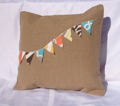 Applique Banner  on Burlap Pillow Cover by decor8diva on Etsy