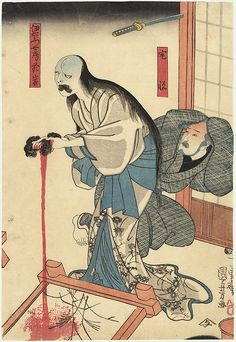 Kuniyoshi, The Ghost of Oiwa. wringing blood from a cloth in front of her husband who murdered her
