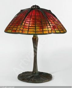 "Tiffany Studios - ""SPIDER"" TABLE LAMP with a ""Mushroom"" base and ""Spider"", leaded glass and patinated bronze, circa 1905 Stained Glass Lamps, Leaded Glass, Spider Lamp, Light Table, Table Lighting, Table Lamps, Tiffany Glass, Light Of The World, Antique Lamps"
