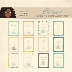 FREE printable 2015 Pocket Calendar Cards | Designs by Angie Hinksman