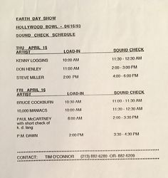 Earth Day 1993 Hollywood Bowl Sound Check Schedule