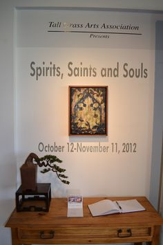 """Silent Bonsai displayed on the sign-in table at the Tall Grass Arts Association (Park Forest, Il.) exhibition: """"Spirits, Saints and Souls."""""""