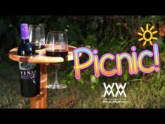 Here's a fun folding wine table perfect for picnics and other outdoor events. Portable and elegant! Free plans, tutorial and video.