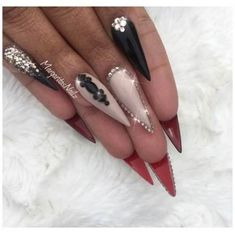 Red Bottom Stiletto Nails by MargaritasNailz from Nail Art Gallery Prom Nails, Bling Nails, Glitter Nails, Rhinestone Nails, Gold Coffin Nails, Gold Nail Art, Kat Von D, Red Bottom Nails, Summer Stiletto Nails