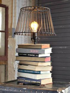 DIY Stacked Books Table Lamp Tutorial - 15 Unique DIY Lamp Ideas To Light up Your Home Creatively - DIY & Crafts