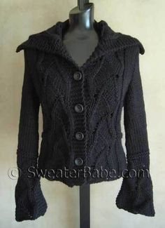 PDF Knitting Pattern for Popular Lace Inset Shaped Vest or Cardigan Knitting Project for Knitters