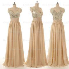 long prom dress, champagne prom dress, sequin prom dress, bridesmaid prom dress, long bridesmaid dress, long evening dress, 14101