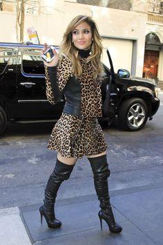 J.Lo Stunts On Em In New York With Short Calf-Skin Leopard Print Dress