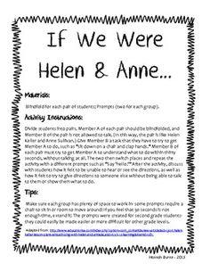 If We Were Helen & Anne Helen Keller Activity