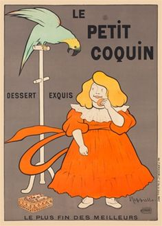 Le Petit Coquin by Cappiello French 1901 - Beautiful Vintage Posters Reproduction. This poster features a girl in an orange dress eating a cookie as a green parrot looks down longingly at her from his perch.  Giclee Advertising Prints. Classic Poster