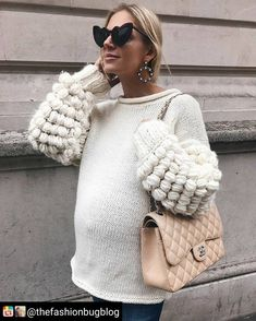 Puffy sweater - Style and Fashion - Stylish Maternity, Maternity Wear, Maternity Fashion, Maternity Style, Bump Style, Mommy Style, Pregnancy Looks, Pregnancy Outfits, Pregnacy Fashion