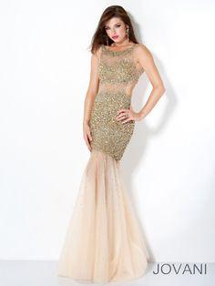 Jovani 171100 - Gold/Nude Sequin Mermaid Prom Dresses Online #thepromdresses
