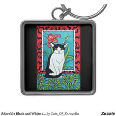 Adorable Black and White cat with Art Deco Design Keychain by Cats of Karavella. Cat Art by Dora Hathazi Mendes