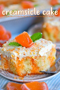 easy Orange Creamsicle Poke Cake is a wonderful addition to all your summer parties! A lovely vanilla cake that is bursting with orange flavor and topped with a fluffy orange and vanilla frosting that no one will be able to resist! // Mom On Timeout Cake Mix Recipes, Baking Recipes, Dessert Recipes, Summer Cake Recipes, Cupcakes, Cupcake Cakes, Mini Desserts, Easy Desserts, Potluck Desserts