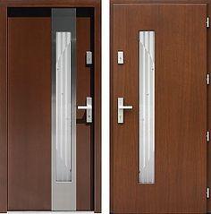 Drzwi wejściowe z aplikacjami inox model 454,3-454,13+ds6 w kolorze orzech