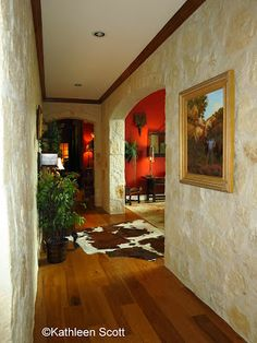 Most amazing hallway!  Limestone floor to tall ceiling in a Wimberley area ranch home. More photos at Hill Country Mysteries: Spaces: A Wimberley Ranch Home for a weekend or a life