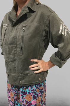 Vintage military jacket, hand embellished with floral army stripes