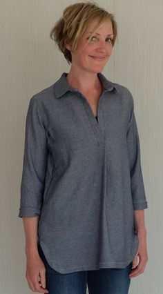Liesl & Co Gallery Tunic, chambray Chambray, Sewing Ideas, Tunic, Patterns, Create, Gallery, Winter, How To Make, Hair