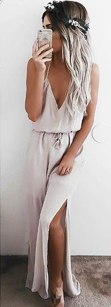 #summer #lulus #fashion |  Taupe Embroidered Maxi Dress