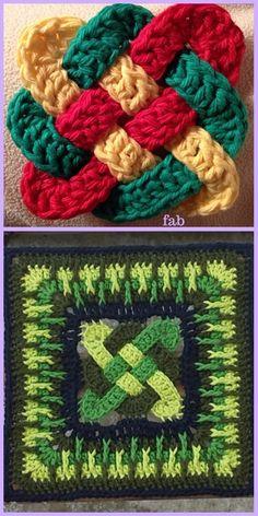 Crochet Granny Square Patterns Crochet Celtic Knot Square Free Pattern f - Crochet Celtic Knot Square Free Pattern Crotchet Patterns, Crochet Blocks, Granny Square Crochet Pattern, Crochet Squares, Crochet Blanket Patterns, Crochet Motif, Crochet Stitches, Crochet Granny, Granny Squares