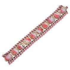 Buy Alice Joseph Vintage 1950s Glass Stones Bracelet, Pink Online at johnlewis.com