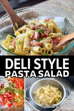 This is a delicious deli style pasta salad for a crowd. | sipbitego.com #sipbitego #focaccia #focacciabread #Italian #focacciarecipe #breadrecipe #focaccia #focacciabreakfastsandwich #breakfastsandwich #eggs #bacon #brunch