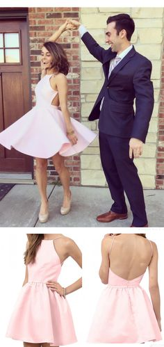 Cute A-line Pink Short Backless Homecoming Dress Party Dress For Teens