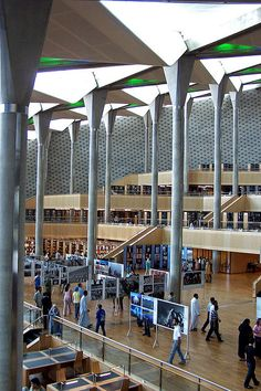 The New Library of Alexandria (interior), Egypt by Sebastià Giralt, via Flickr.  www.bibalex.org/