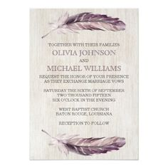 Shop Rustic Watercolor Feathers Wedding Invitations created by fancypaperie. Bohemian Wedding Invitations, Wedding Invitation Design, Custom Invitations, Invitation Ideas, Wedding Dress With Feathers, Butterfly Illustration, Watercolor Feather, Bridal Shower Cards, Marriage Vows