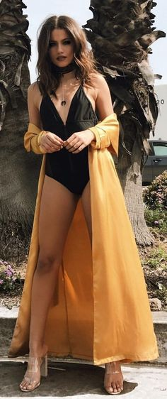 #summer #outfits  Black One Piece Swimsuit + Mustard Maxi Kimono