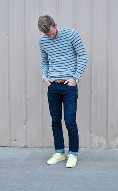 Shop this look on Lookastic:  http://lookastic.com/men/looks/crew-neck-sweater-watch-belt-skinny-jeans-low-top-sneakers/9575  — Light Blue Horizontal Striped Crew-neck Sweater  — Green Watch  — Brown Leather Belt  — Navy Skinny Jeans  — Yellow Low Top Sneakers