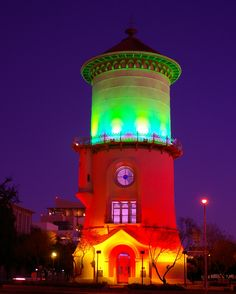 Fresno Water Tower-Fresno CA~~~FYI, I noticed this pinned as a lighthouse but it is not. It is an historical water tower in Fresno CA. Fresno California, Fresno County, Central California, Destinations, World Of Color, Over The Rainbow, Rainbow Colors, Christmas Lights, Beautiful Places
