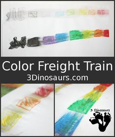 Color Freight Train - looking at 2 types of color mixing - 3Dinosaurs.com