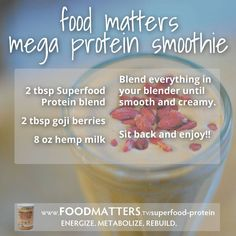 Food Matters Mega Protein Smoothie! Find out more recipes in our special launch here: http://foodmatters.tv/superfood-protein #foodmatters #youarewhatyoueat #recipes