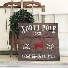 "Custom Wood Sign - North Pole Family Name - 14""×19"" Wood Plank Sign"