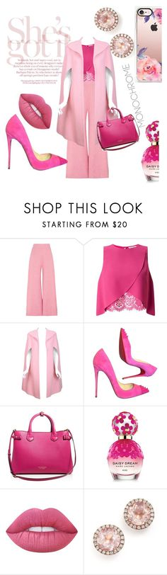 """""""Painting the Road Pink"""" by blackadonia ❤ liked on Polyvore featuring Paper London, Miss Selfridge, Pauline Trigère, Christian Louboutin, Burberry, Marc Jacobs, Lime Crime, Dana Rebecca Designs, Casetify and Pink"""