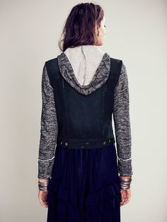 Free People Knit Hooded Denim Jacket at Free People Clothing Boutique 148.00