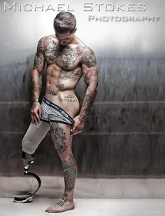 Okay so this is Alex Minsky. He's amazing. Ex marine who lost his leg and is now an underwear model. Look at those tattoos. Sexy.
