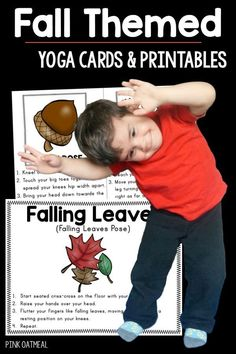 Perfect for fall activities for kids or autumn activities for kids!  Great for fall themed gross motor!  These kids yoga moves are perfect for therapy, the classroom, after school programs or camps.  They are easy and a great way to get movement that is much needed in during the day!