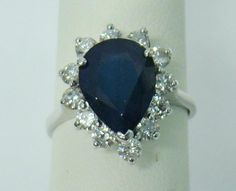 14K WHITE GOLD RING PEAR 5.00 CT NATURAL GENUINE BLUE SAPPHIRE 1.00 CTTW DIAMOND #TL #Cocktail The Sapphires, Royal Engagement Rings, Sapphire Jewelry, Crown Jewels, White Gold Rings, Rainbow Colors, Blue Sapphire, Birthstones, Pear