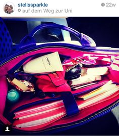"""The inside from my """"Mrs. Royal"""" - it's pink velour leather and pretty amazing with all the organization"""