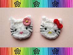 """Ravelry: Hey Cat  Applique / Embellishment pattern by Patricia Eggen  Finished size using size I/5.5 mm hook + WW yarn is approx. 1-½"""" tall + 1-½"""" across. Photo tute - free pdf"""