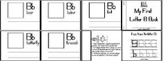 """Love these mini books.  For each letter, choose d'nelian or standard font.  The """"worksheet"""" contains a big sized letter to trace as well as four small pictures on the bottom to color and cut out.  These pictures go into the mini book that gets cut out as well."""