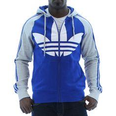 Blue Adidas Originals Color Block FZ Men's Hooded Sweatshirt. Click here for discounted Adidas apparel http://www.streetmoda.com/collections/adidas from Streetmoda.com