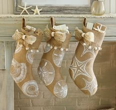 Burlap Coastal Holiday Stockings