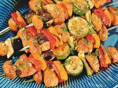 Szaszłyki wieprzowe z warzywami z grilla
