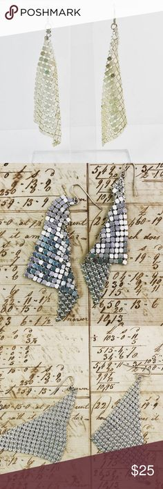 Vintage mesh silver tone earrings vintage silver mesh earrings   Approximately 3 inches in length   From a pet and smoke free location Jewelry Earrings