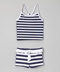 Look at this Snapper Rock Navy & White Stripe Tankini - Toddler & Girls on #zulily today!