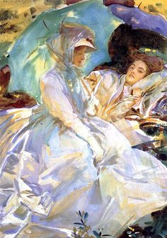 John Singer Sargent - Simplon Pass: Reading (circa 1911), which highlights the artist's affinity for luxuriant compositions of casually interlinked figures