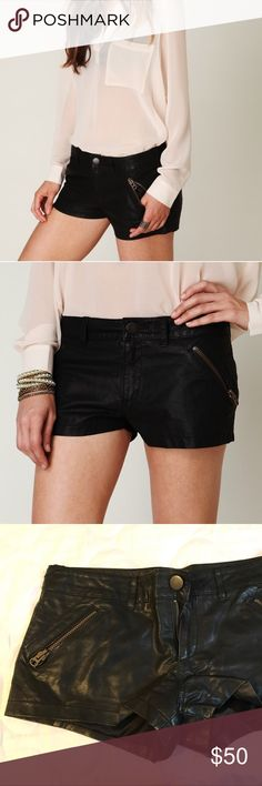 "Free People Vegan Leather Shorts Free People Vegan Leather Shorts. Vegan leather shorts with button and zipper fly. Two zipper pockets in the front and hidden zipper pockets in the back. Lined. 100% polyurethane. 9"" rise, 2"" inseam. Size 2. Excellent condition! No modeling/trades. Free People Shorts"